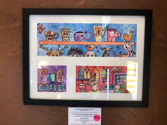 Some of the artwork produced in Jana Lynch's ink and watercolor class found a buyer.
