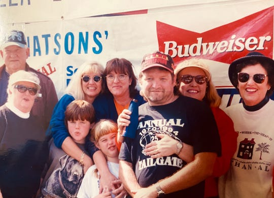 The Watson extended family pictured at the 1994 Senior Bowl in Mobile, Alabama. Sally (far left, front) and Thom (front, third from right) have helped their family attend 50 straight Senior Bowl's and will begin a new half-century this year.