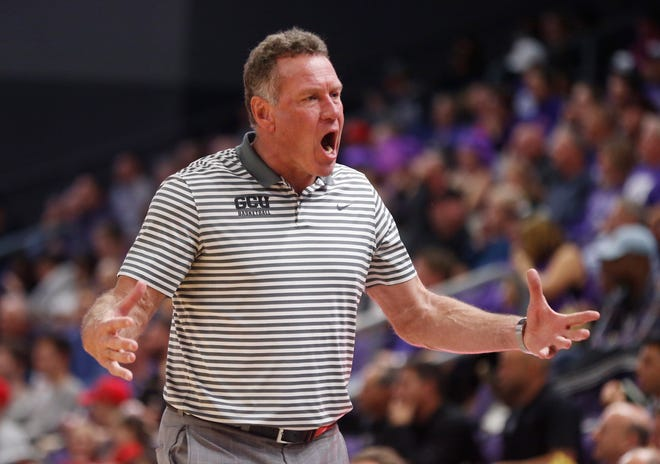 GCU's head coach Dan Majerle reacts after a foul call against Seattle University during the second half at Grand Canyon University Arena in Phoenix, Ariz. on January 23, 2020.