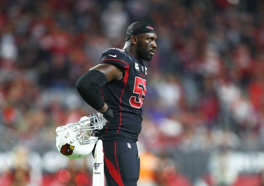 Cardinals linebacker Chandler Jones looks on during a game against the 49ers on Oct. 31. Mark J. Rebilas / USA TODAY Sports Cardinals linebacker Chandler Jones (55) looks on during a game against the 49ers on Oct. 31 at State Farm Stadium.