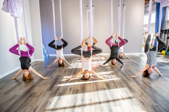"Join Elevate Yoga & Wellness' ""Galentine's Day"" class on Feb. 13 to soar through the air on aerial hammocks in a guided 75-minute class."