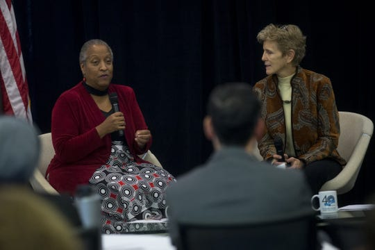 Wanda Tucker (left) and Pam Tucker (right) speak on a panel as part of a Martin Luther King Jr. Holiday celebration at Rio Salado College in Tempe, Arizona on Jan. 23, 2020.
