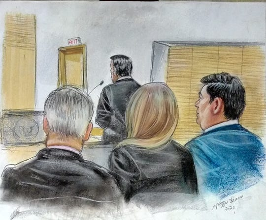 A sketch shows Scot Claus, an attorney representing Scottsdale, at the mic with former acting City Manager Brian Biesemeyer (left) and other members of the legal team.