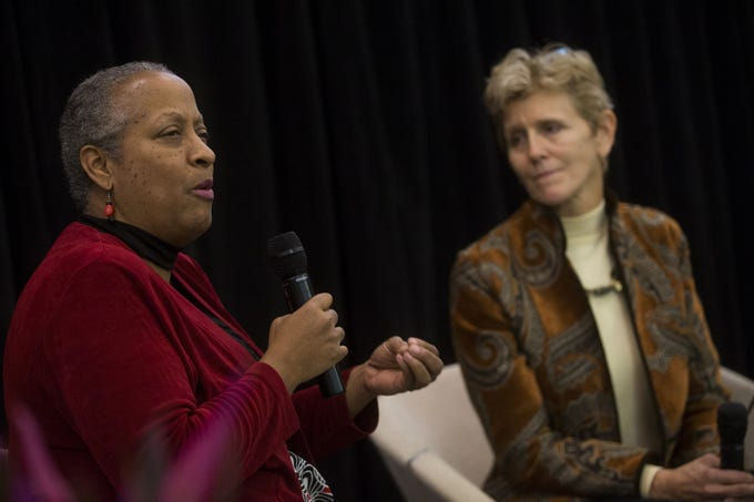Wanda Tucker (left) and Pam Tucker (right) speak on a panel as part of a Martin Luther King Jr. Holiday celebration at Rio Salado College in Tempe, Arizona on Jan. 23, 2020. Wanda Tucker's ancestors were some of the very first Africans to be enslaved by colonial Americans who Pam Tucker descended from.