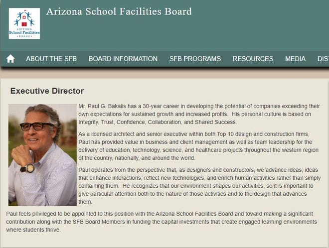 A screenshot from the School Facilities Board website shows Paul Bakalis, who resigned from leading the state agency that is charged with repairing aging district school buildings.