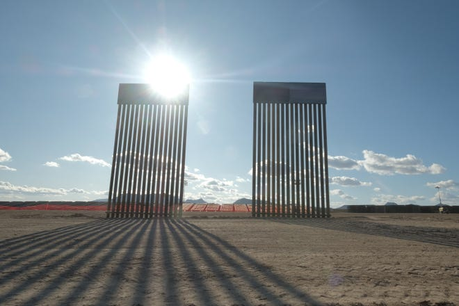 30-foot bollard-style fencing near construction of the border wall east of Douglas on Jan. 10, 2020.