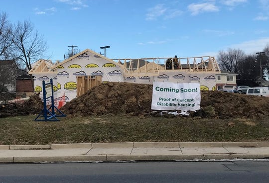 Construction for the cottage-style home is underway on Maple Street in Lebanon. Community Homes hopes this can be the impetus for more housing for those with disabilities.