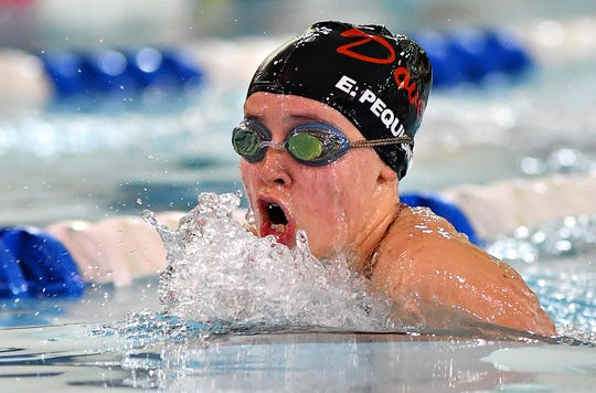 Dover's Emma Pequignot wins the 100 Yard Breaststroke event at 1:19.77 over York Suburban during swimming action at Dover Intermediate School in Dover Township, Thursday, Jan. 23, 2020. Dawn J. Sagert photo