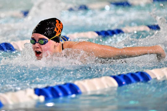 York Suburban's Savannah Hunt swims the third leg of the 200 Yard Medley Relay during swimming action against Dover at Dover Intermediate School in Dover Township, Thursday, Jan. 23, 2020. York Suburban would win the event at 2:02.23. Dawn J. Sagert photo