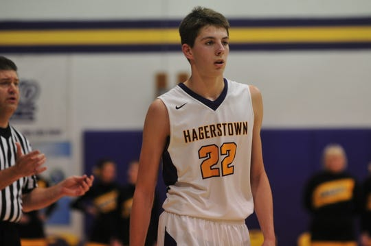 Hagerstown's Logan Hinton (22) averaged 17.5 points and six rebounds per game during the Wayne County Tournament.