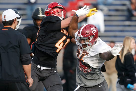 Alabama's Terrell Lewis works out for scouts as the South squad runs drills during practice for the Senior Bowl Wednesday.