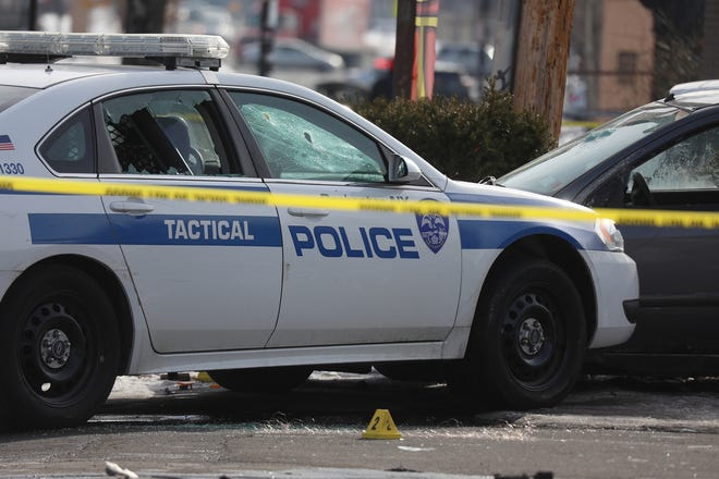 A smashed Rochester police car on North Clinton Avenue.