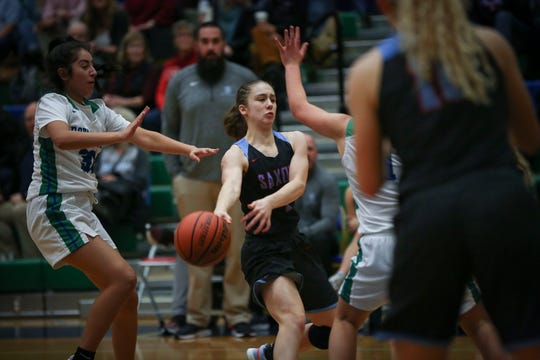 South Salem's Hilary James, 2, passes the ball to a teammate during their game against McKay at McKay High School January 23, 2020.