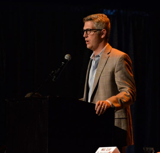 Baltimore Orioles' general manager Mike Elias speaks at the Delmarva Shorebirds' annual hot stove banquet on Thursday, Jan. 23, 2020.