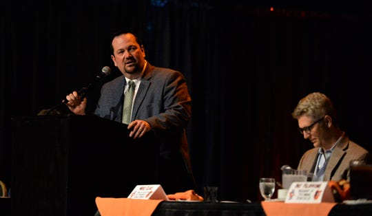 Delmarva Shorebirds general manager Chris Bitters speaks at the Shorebirds' annual hot stove banquet on Thursday, Jan. 23, 2020.