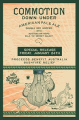 Great Raft Brewing releases its limited-edition Commotion Down Under beer, benefiting Australian wildlife rescue efforts. Commotion Down Under is a double-dry hop APA made with Australian-grown hop varieties called Vic Secret, Ella and Galaxy.