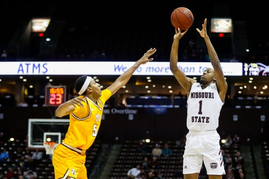Missouri State Bears guard Keandre Cook (1) shoots a three-pointer over Valparaiso Crusaders forward Donovan Clay (5) at JQH Arena on Thursday, Jan. 23, 2020.