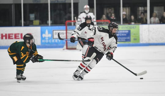 Luke Johnson skates with the puck during the game Thursday, Jan. 23, 2020, against Sauk Rapids at the MAC in St. Cloud.