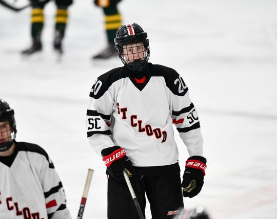 August Falloon skates to the St. Cloud bench during the first period Thursday, Jan. 23, 2020, against Sauk Rapids at the MAC in St. Cloud.