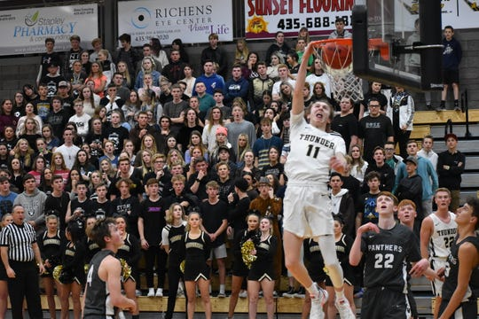 Mason Chase throws down a dunk as Desert Hills beat Pine View 59-56 on Thursday, January 23rd.