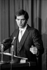 Jack Levine at a 1992 news conference