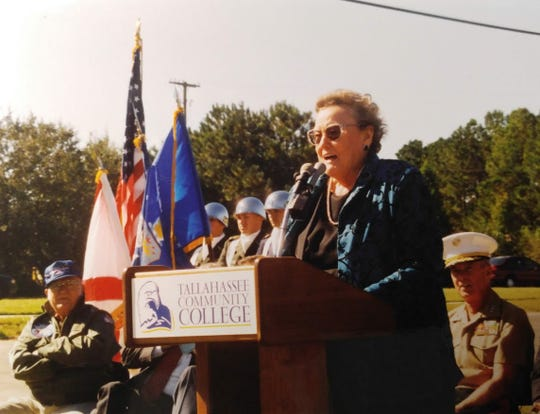 TCC first recognized its shared heritage with Tallahassee's Dale Mabry Army Air Fieldby dedicating a historic marker on Oct. 17, 2001.Pictured is Alice Smith-Ragsdale, secretary to Colonel Jacob Wuest, the first base commander.