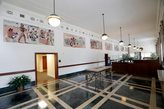 The eight murals inside the U.S. Bankruptcy Court for the Northern District of Florida, located at 110 E. Park Ave, were commissioned through during the New Deal. The murals were done by Edward Ulreich and illustrate Florida's history.