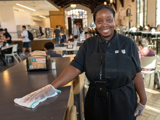 Victoria McKinney turned her job training as a student into a job with Sodexo.