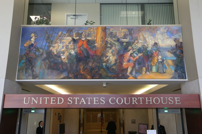 The five murals inside the U.S. District Courthouse, located at 111 N. Adams St., illustrate historically significant developments in United States law and government. These murals were done by Lincoln Perry.