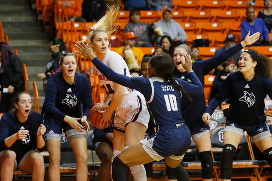 UTEP's Katarina Zec goes against Rice defense during the game Thursday, Jan. 23, at the Don Haskins center in El Paso.