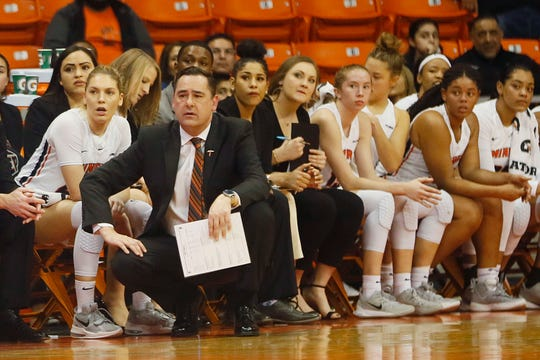 UTEP head coach Kevin Baker on the sidelines during the game against Rice Thursday, Jan. 23, at the Don Haskins center in El Paso.
