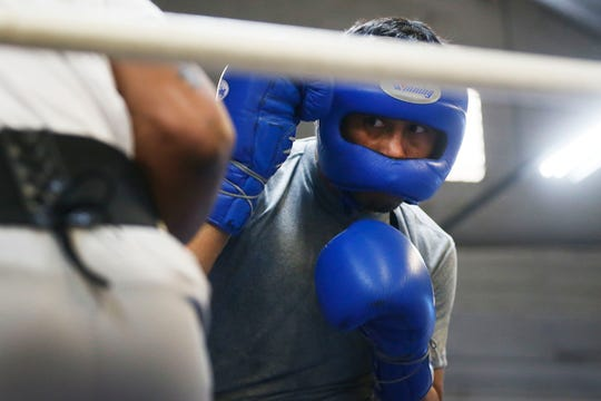El Paso's Josue Garcia will fight on Saturday night on the undercard of the Jennifer Han main event. The fight card is taking place at the El Paso County Coliseum. The first fight is scheduled to start at 6:30 p.m. Garcia, right, sparred with Las Cruces boxer Austin Trout last month in Las Cruces.