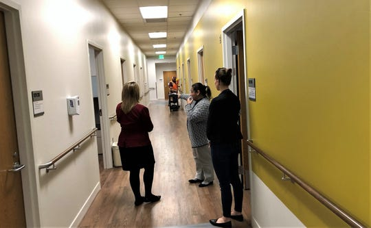 Psychologist Connie Ponce, chief of mental health for the El Paso VA Health Care System, conducts a tour Jan. 24 at the VA's new mental health clinic on the Medical Center of the Americas campus in South West El Paso.