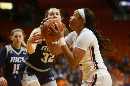 UTEP's  Ariona Gill takes a shot against Rice during the game Thursday, Jan. 23, at the Don Haskins center in El Paso.