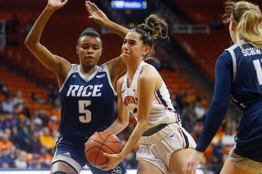 UTEP's Katia Gallegos goes against Rice's Destiny Jackson during the game Thursday, Jan. 23, at the Don Haskins center in El Paso.