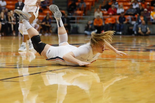UTEP's Sabine Lipe is fouled during the game against Rice Thursday, Jan. 23, at the Don Haskins center in El Paso.