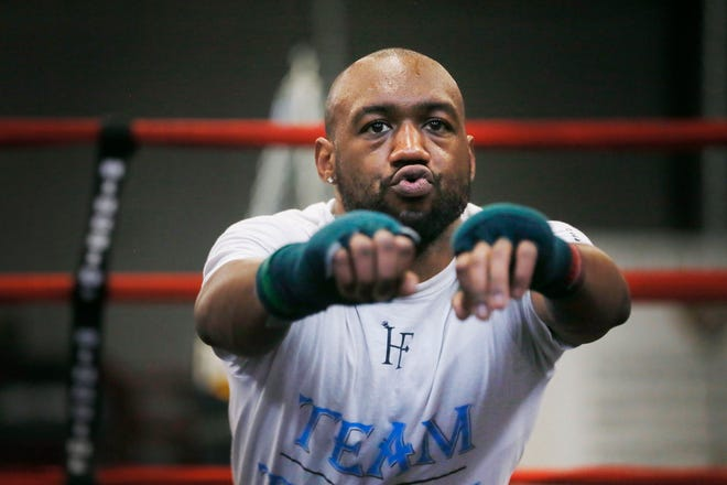 Las Cruces boxer Austin Trout spars El Paso's Josue Garcia in preparation of his Feb. 1 fight in Ruidoso Thursday, Jan. 23, at the Las Cruces Police Athletic League Gym in Las Cruces, N.M.