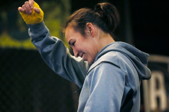 El Paso boxer Jennifer Han trains at the Las Cruces Police Athletic League Gym in Las Cruces on Jan. 23, 2020.