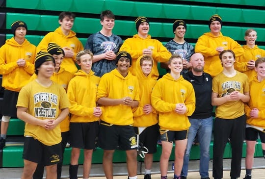 The Newbury Park boys wrestling team clinched its third straight Marmonte League title with a win over Thousand Oaks on Thursday night.