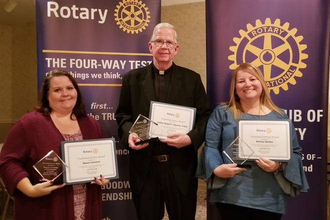 (From left) Shaun Connors, Rev. Robert J. Murray, O.S.A., and Shirley Santos were recently recognized as the first Vocational Service Award recipients by the Tri-County Rotary Club, which serves Vineland, Millville, Buena and Newfield.