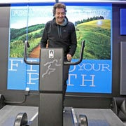 Paolo Persichetti, co-founder of Stride Generation is photographed on a special treadmill at the studio in Scarsdale Jan. 22, 2020. These treadmills are human powered and don't use electricity.