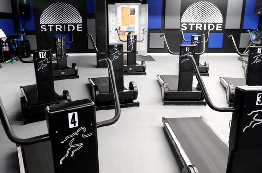 Stride Generation's special treadmills are human powered and don't use electricity, as seen at the studio in Scarsdale Jan. 22, 2020.