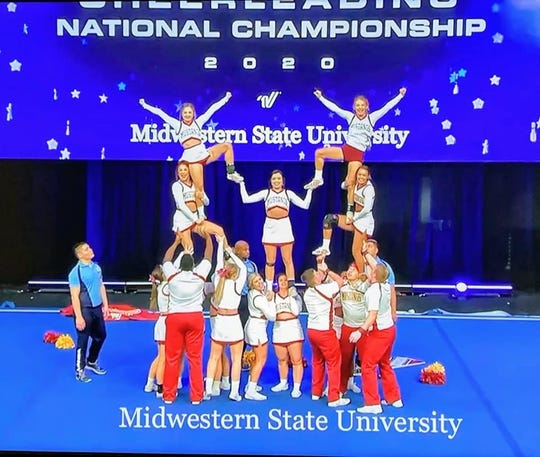 Midwestern State University cheerleaders recently placed third in the national Walt Disney UCA Cheerleading National Championship in Orlando, Fla.