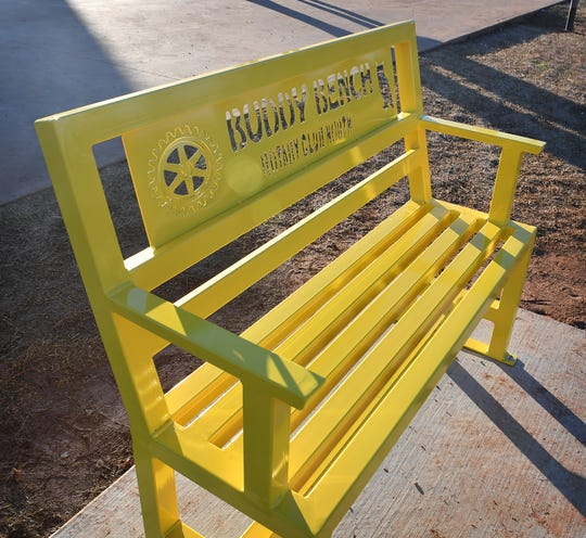 This powder-coated steel Buddy Bench at Scotland Park Elementary was donated by members of Rotary Club North.