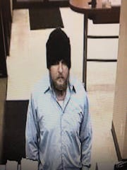 The suspect in an armed robbery at the Chase Bank in downtown Zanesville on Friday.
