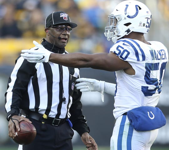 Barry Anderson, shown here working the Colts-Steelers game in Week 9, will serve as umpire in Super Bowl LIV.