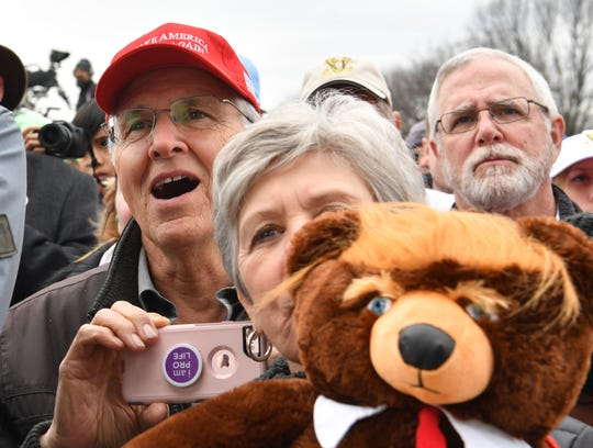 """Pro-life demonstrators listen to US President Donald Trump as he speaks at the 47th annual """"March for Life"""" demonstration."""