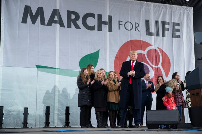 """President Donald Trump arrives to speak at the annual """"March for Life"""" rally."""