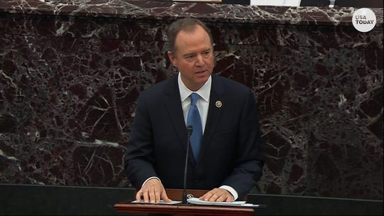 What was the Senate chamber like while Rep. Adam Schiff made his final Thursday speech?