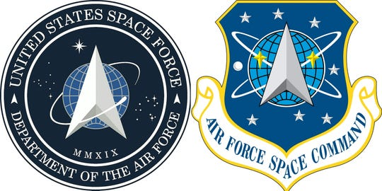 This combination of pictures created on January 24, 2020, and courtesy U.S. Air Force show the new logo (L) for the United States Space Force, founded December 20, 2019, which was revealed by President Donald Trump and the logo for the Air Force Space Command, active from September 1982 to December 2019.